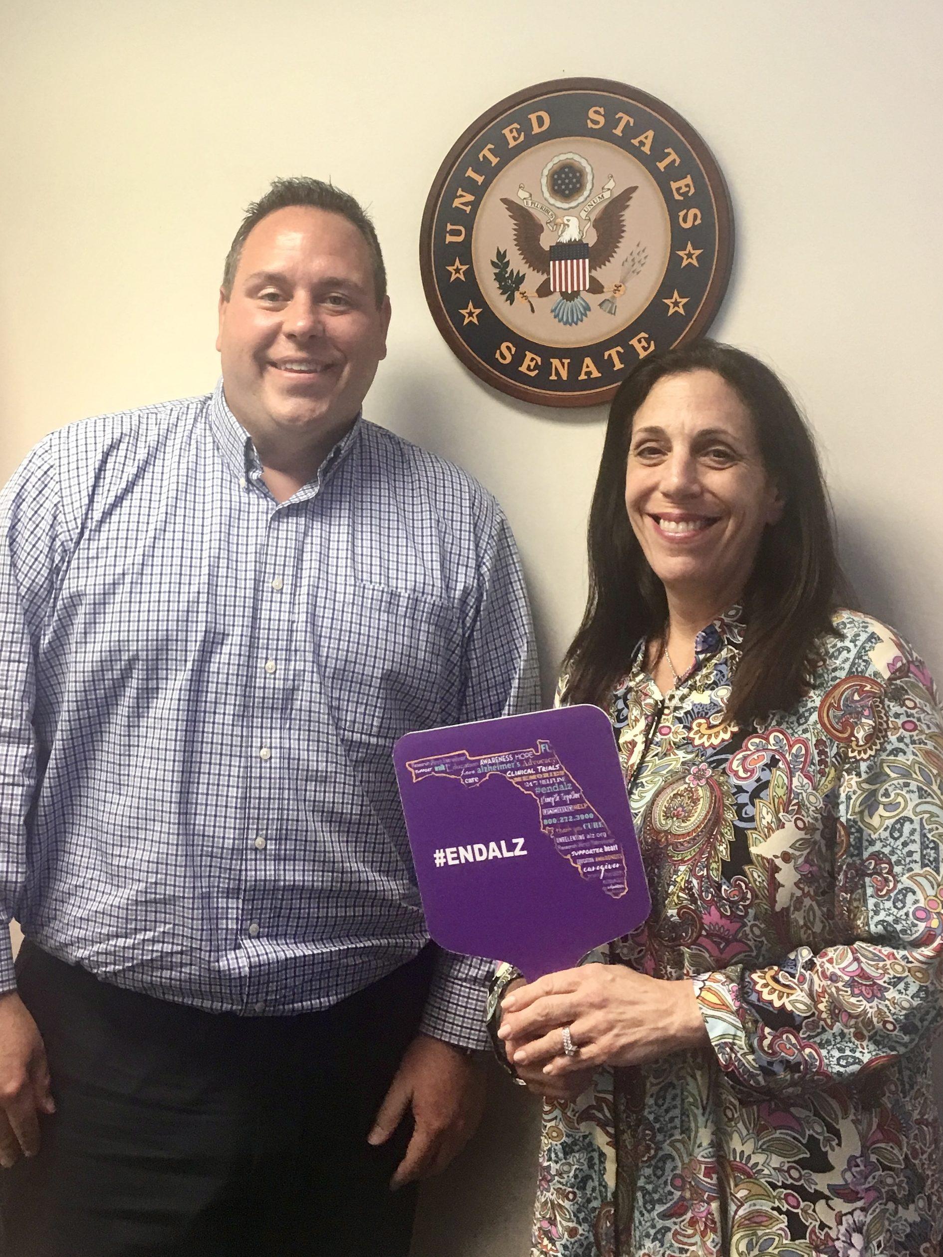 Alzheimer's Association Ambassador Nancy Ginden with Greg Langowski, regional director for Senator Marco Rubio, at the Senator's office in Palm Beach Gardens.